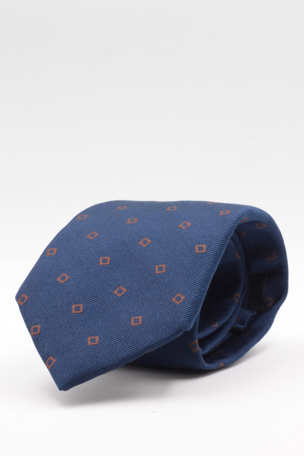 Holliday & Brown - Silk   - Blue navy, brown motif tie #3603