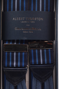 Albert Thurston for Cruciani & Bella Made in England Adjustable Sizing 40 mm Woven Barathea  Blue navy, different kind of blue stripes braces Braid ends Y-Shaped Nickel Fittings Size: XL