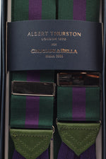 Albert Thurston for Cruciani & Bella Made in England Adjustable Sizing 40 mm Woven Barathea  Green and purple stripes braces Braid ends Y-Shaped Nickel Fittings Size: XL