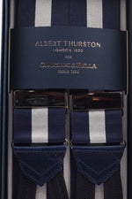 Albert Thurston for Cruciani & Bella Made in England Adjustable Sizing 40 mm Woven Barathea  Navy and light grey Braces Braid ends Y-Shaped Nickel Fittings Size: XL