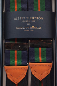 Albert Thurston for Cruciani & Bella Made in England Adjustable Sizing 40 mm Woven Barathea  Navy, green and orange stripes Braces Braid ends Y-Shaped Nickel Fittings Size: XL