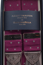 Albert Thurston for Cruciani & Bella Made in England Adjustable Sizing 40 mm Woven Barathea  Purple, grey dots braces Braid ends Y-Shaped Nickel Fittings Size: XL