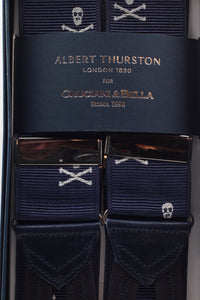 Albert Thurston for Cruciani & Bella Made in England Adjustable Sizing 40 mm Woven Barathea  Black, red and white stripes Braces Braid ends Y-Shaped Nickel Fittings Size: XL