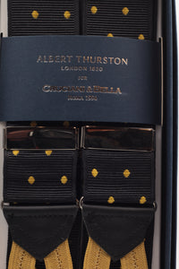 Albert Thurston for Cruciani & Bella Made in England Adjustable Sizing 40 mm Woven Barathea  Nero, mustard dots Braces Braid ends Y-Shaped Nickel Fittings Size: XL