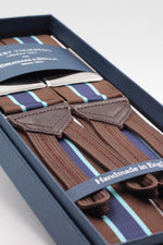 Albert Thurston for Cruciani & Bella Made in England Adjustable Sizing 40 mm Woven Barathea  Brown, light blue and blue navy stripes braces Braid ends Y-Shaped Nickel Fittings Size: XL