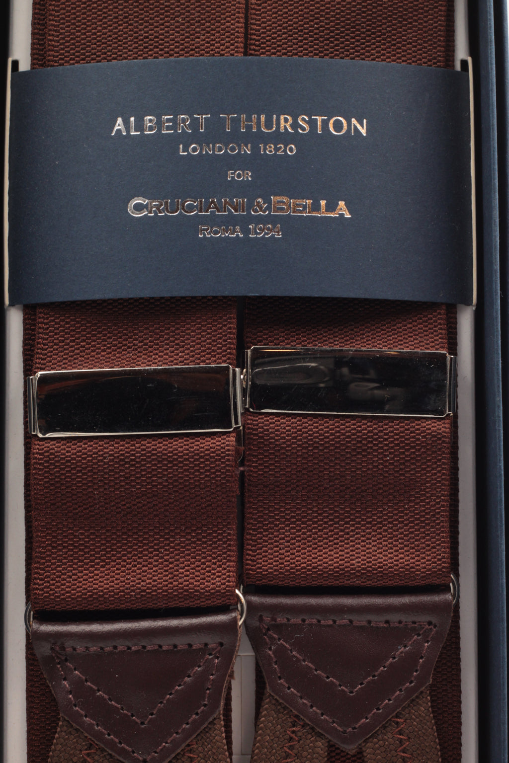 Albert Thurston for Cruciani & Bella Made in England Adjustable Sizing 40 mm Woven Barathea  Brown plain Braces Braid ends Y-Shaped Nickel Fittings Size: XL