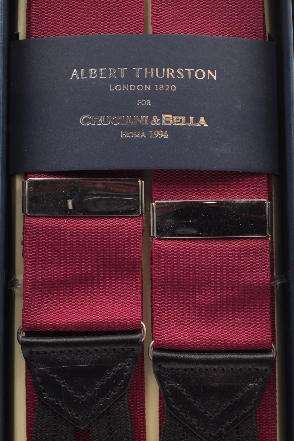 Albert Thurston for Cruciani & Bella Made in England Adjustable Sizing 40 mm Woven Barathea  Plum plain Braces Braid ends Y-Shaped Nickel Fittings Size: XL