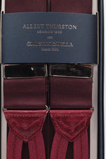 Albert Thurston for Cruciani & Bella Made in England Adjustable Sizing 40 mm Woven Barathea  Burgundy plain Braces Braid ends Y-Shaped Nickel Fittings Size: XL