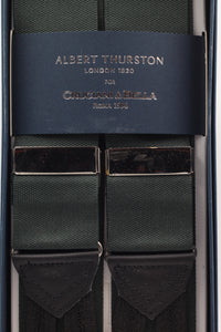 Albert Thurston for Cruciani & Bella Made in England Adjustable Sizing 40 mm Woven Barathea  Forrest green plain Braces Braid ends Y-Shaped Nickel Fittings Size: XL