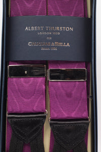 Albert Thurston for Cruciani & Bella Made in England Adjustable Sizing 40 mm Woven Barathea  Purple moiré Braces Braid ends Y-Shaped Brass Fittings Size: XL