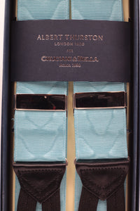Albert Thurston for Cruciani & Bella Made in England Adjustable Sizing 40 mm Woven Barathea  Sea water moiré Braces Braid ends Y-Shaped Nickel Fittings Size: XL