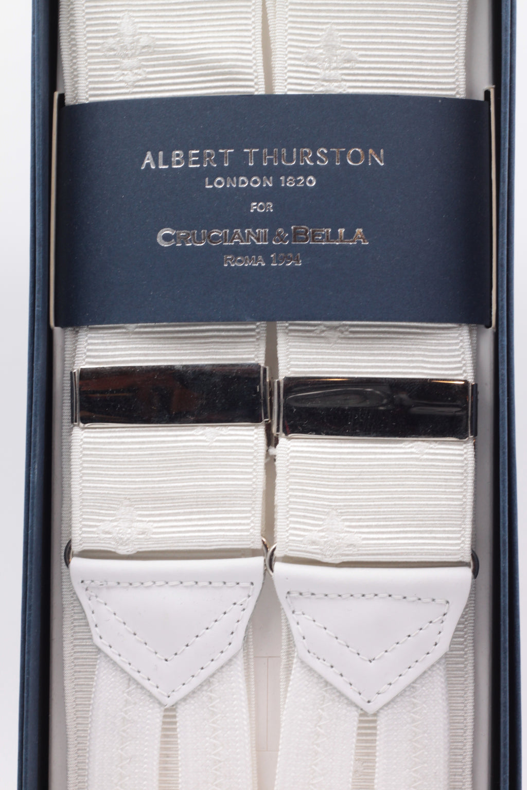 Albert Thurston for Cruciani & Bella Made in England Adjustable Sizing 40 mm Woven Barathea  White, white Florentine lily Braces Braid ends Y-Shaped Nickel Fittings Size: XL