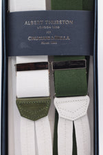 Albert Thurston for Cruciani & Bella Made in England Adjustable Sizing 35 mm elastic braces Green and white exclusive  Braid ends Y-Shaped Nickel Fittings Size: L
