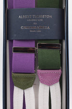 Albert Thurston for Cruciani & Bella Made in England Adjustable Sizing 35 mm elastic braces Green and purple exclusive  Braid ends Y-Shaped Nickel Fittings Size: L