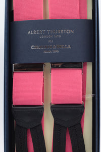 Albert Thurston for Cruciani & Bella Made in England Adjustable Sizing 35 mm elastic pink plain braces Braid ends Y-Shaped Nickel Fittings Size: L