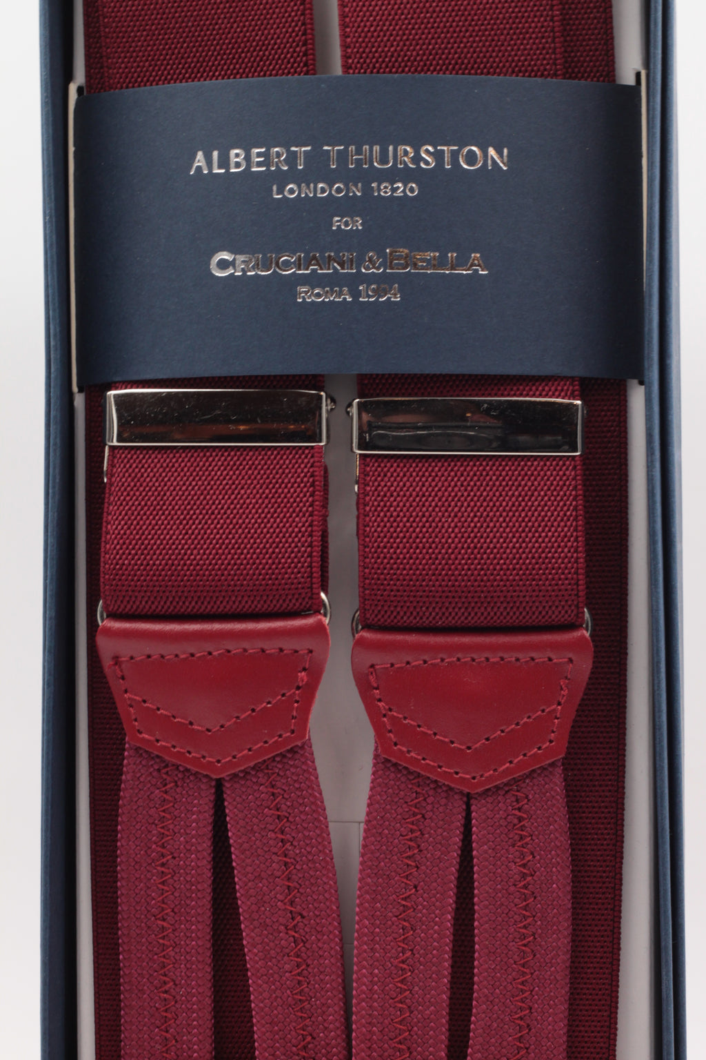 Albert Thurston for Cruciani & Bella Made in England Adjustable Sizing 35 mm elastic burgundy plain braces Braid ends Y-Shaped Nickel Fittings Size: L