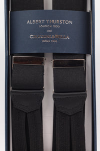 Albert Thurston for Cruciani & Bella Made in England Adjustable Sizing 35 mm elastic black plain braces Braid ends Y-Shaped Nickel Fittings Size: L
