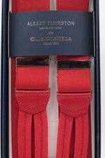 Albert Thurston for Cruciani & Bella Made in England Adjustable Sizing 35 mm elastic red plain braces Braid ends Y-Shaped Nickel Fittings Size: L