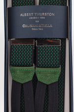 Albert Thurston for Cruciani & Bella Made in England Adjustable Sizing 35 mm elastic black, green motif braces Braid ends Y-Shaped Nickel Fittings Size: L
