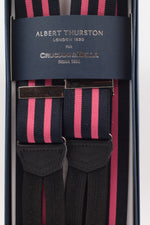 Albert Thurston for Cruciani & Bella Made in England Adjustable Sizing 35 mm elastic black, pink stripes braces Braid ends Y-Shaped Nickel Fittings Size: L