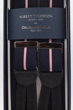 Albert Thurston for Cruciani & Bella Made in England Adjustable Sizing 35 mm elastic black and pink braces Braid ends Y-Shaped Nickel Fittings Size: L