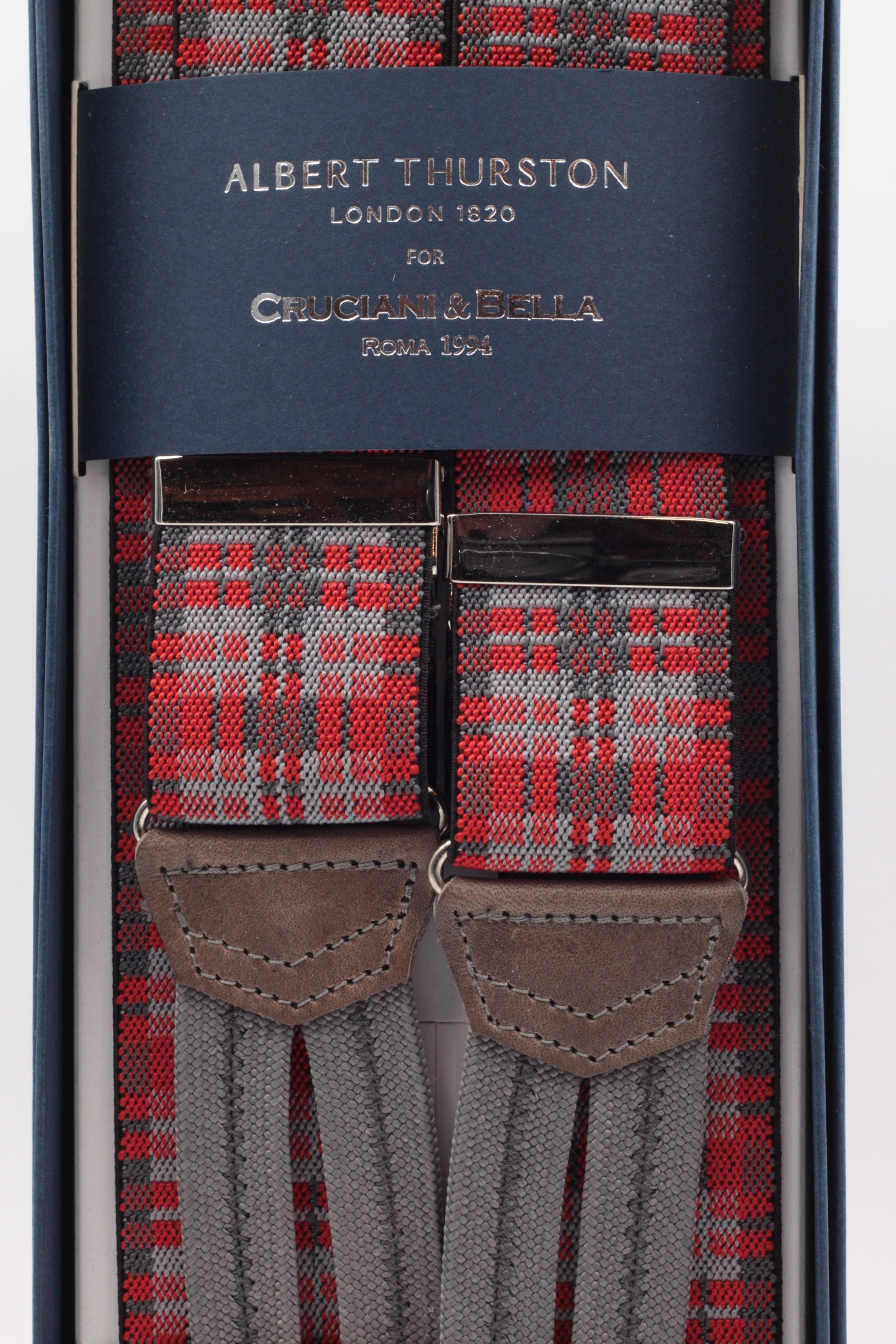 Albert Thurston for Cruciani & Bella Made in England Adjustable Sizing 35 mm elastic red and grey braces Braid ends Y-Shaped Nickel Fittings Size: L