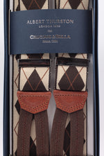 Albert Thurston for Cruciani & Bella Made in England Adjustable Sizing 35 mm elastic beige and brown braces Braid ends Y-Shaped Nickel Fittings Size: L