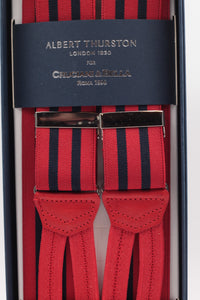 Albert Thurston for Cruciani & Bella Made in England Adjustable Sizing 35 mm elastic red and navy blue braces Braid ends Y-Shaped Nickel Fittings Size: L