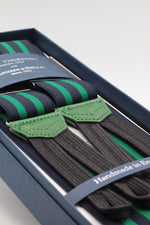 Albert Thurston for Cruciani & Bella Made in England Adjustable Sizing 35 mm elastic blue navy and green braces Braid ends Y-Shaped Nickel Fittings Size: L