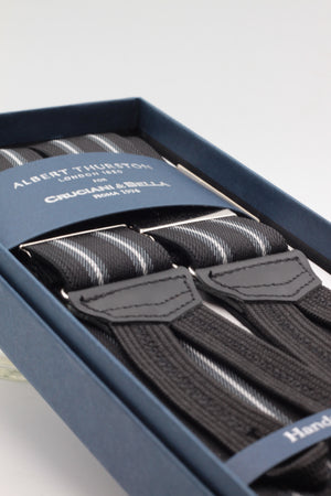 Albert Thurston for Cruciani & Bella Made in England Adjustable Sizing 35 mm elastic black, grey and white stripes braces Braid ends Y-Shaped Nickel Fittings Size: L