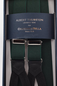 Albert Thurston for Cruciani & Bella Made in England Adjustable Sizing 25 mm elastic braces Bottle green  Braid ends Y-Shaped Nickel Fittings Size: L