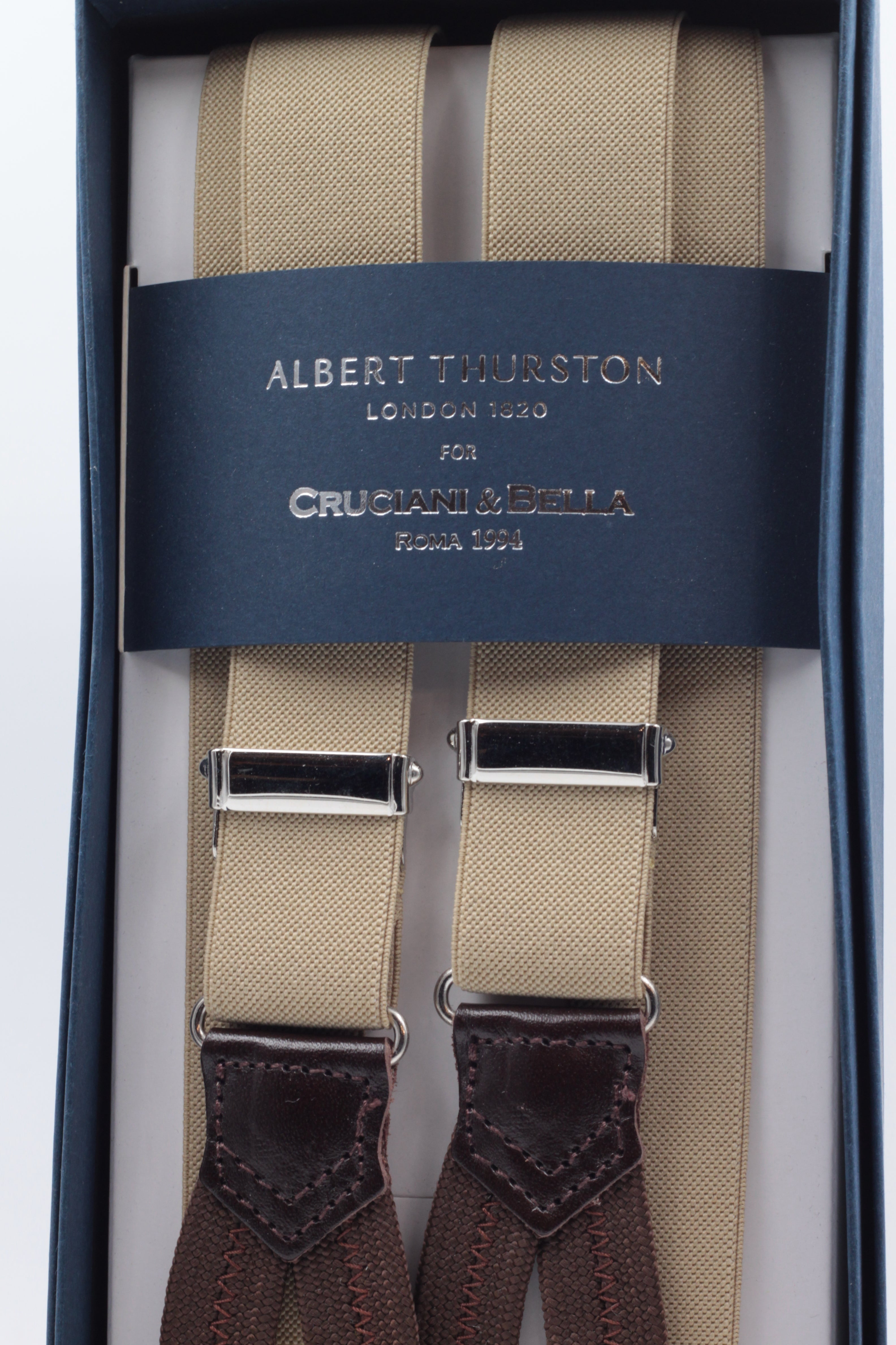 Albert Thurston for Cruciani & Bella Made in England Adjustable Sizing 25 mm elastic braces Beige plain Braid ends Y-Shaped Nickel Fittings Size: L