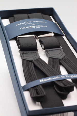 Albert Thurston for Cruciani & Bella Made in England Adjustable Sizing 25 mm elastic braces Black plain Braid ends Y-Shaped Nickel Fittings Size: L