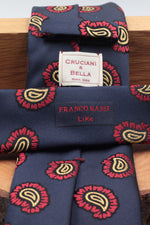 Franco Bassi for Cruciani & Bella 100% Silk Jacquard  Green, light blue and yellow motif tie Handmade in Italy 8 cm x 150 cm