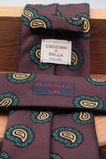 Franco Bassi for Cruciani & Bella 100% Silk Jacquard  Brown, green and yellow motif tie Handmade in Italy 8 cm x 150 cm