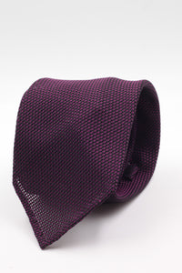 100% Silk Grenadine Garza Fina Woven in Italy Unlined Purple and black plain  tie Handmade in Italy 8 cm x 150 cm