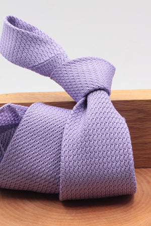 100% Silk Grenadine Garza Grossa Woven in Italy Unlined Lilac plain tie Handmade in Italy 8 cm x 150 cm
