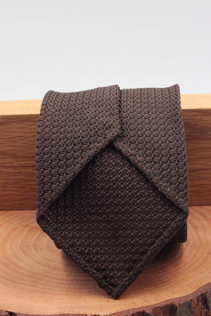 100% Silk Grenadine Garza Grossa Woven in Italy Unlined Brown plain tie Handmade in Italy 8 cm x 150 cm