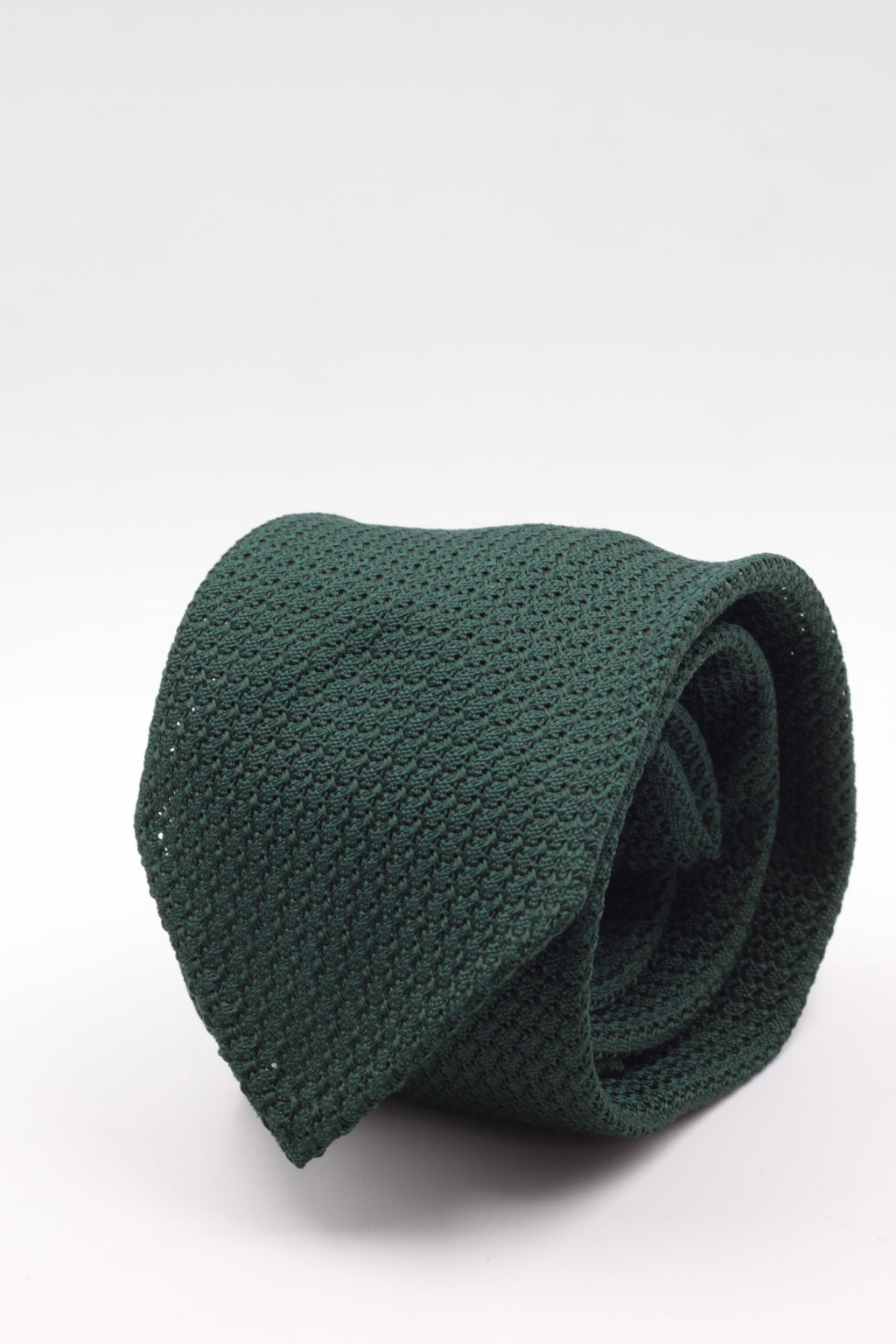 100% Silk Grenadine Garza Grossa Woven in Italy Unlined Bottle green plain  tie Handmade in Italy 8 cm x 150 cm
