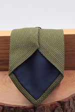 100% Silk Grenadine Garza Fina Woven in Italy Tipped Military green plain  tie Handmade in Italy 8 cm x 150 cm
