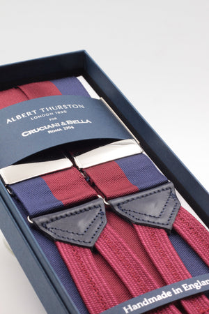 Albert Thurston for Cruciani & Bella Made in England Adjustable Sizing 40 mm Woven Barathea  Blue navy and burgundy braces Braid ends Y-Shaped Nickel Fittings Size: XL