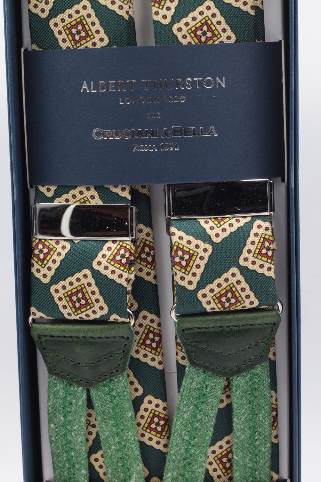Albert Thurston for Cruciani & Bella Made in England Adjustable Sizing 40 mm Green, beige motif braces Braid ends Y-Shaped Nickel Fittings