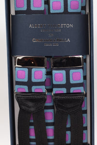 Albert Thurston for Cruciani & Bella Made in England Adjustable Sizing 40 mm Midnight blue, pink and light blue motif braces Braid ends Y-Shaped Nickel Fittings
