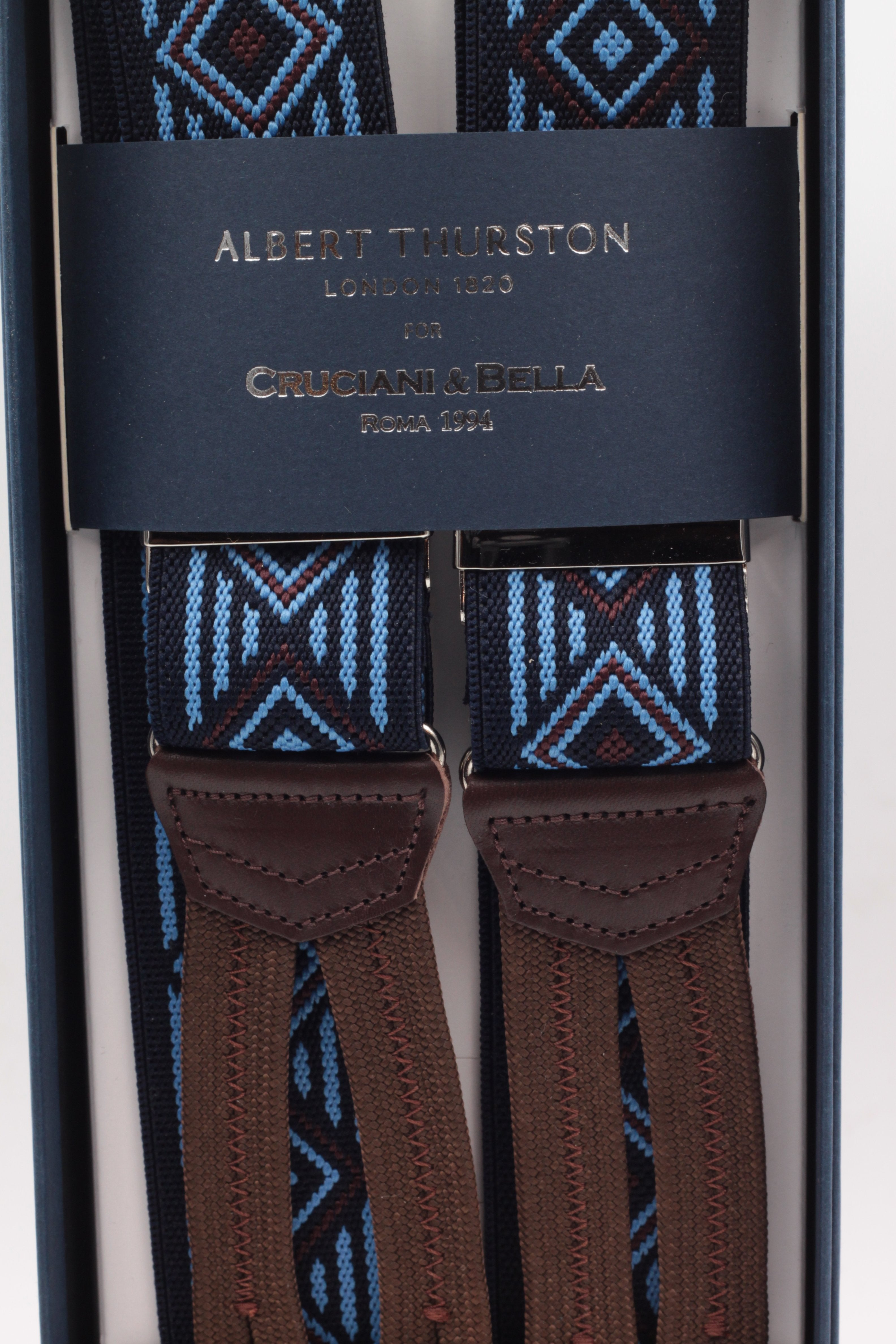 Albert Thurston for Cruciani & Bella Made in England Adjustable Sizing 35 mm elastic midnight blue, light blue and brown motif braces Braid ends Y-Shaped Nickel Fittings Size: L