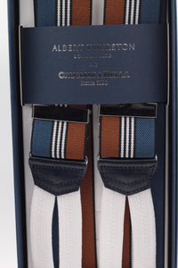 Albert Thurston for Cruciani & Bella Made in England Adjustable Sizing 35 mm elastic Brown and olympic blue, white stripe braces Braid ends Y-Shaped Nickel Fittings Size: L