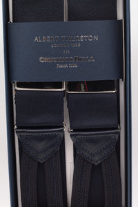 Albert Thurston for Cruciani & Bella Made in England Adjustable Sizing 40 mm Woven Barathea  Midnight blue  plain braces Braid ends Y-Shaped Nickel Fittings Size: XL