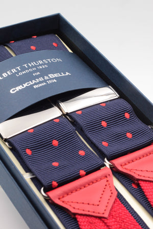Albert Thurston for Cruciani & Bella Made in England Adjustable Sizing 40 mm Woven Barathea Midnight blue, red dots Braces Braid ends Y-Shaped Nickel Fittings Size: XL