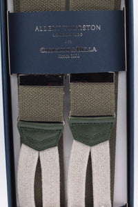 Albert Thurston for Cruciani & Bella Made in England Adjustable Sizing 35 mm elastic  Military green plain braces Braid ends Y-Shaped Nickel Fittings Size: L