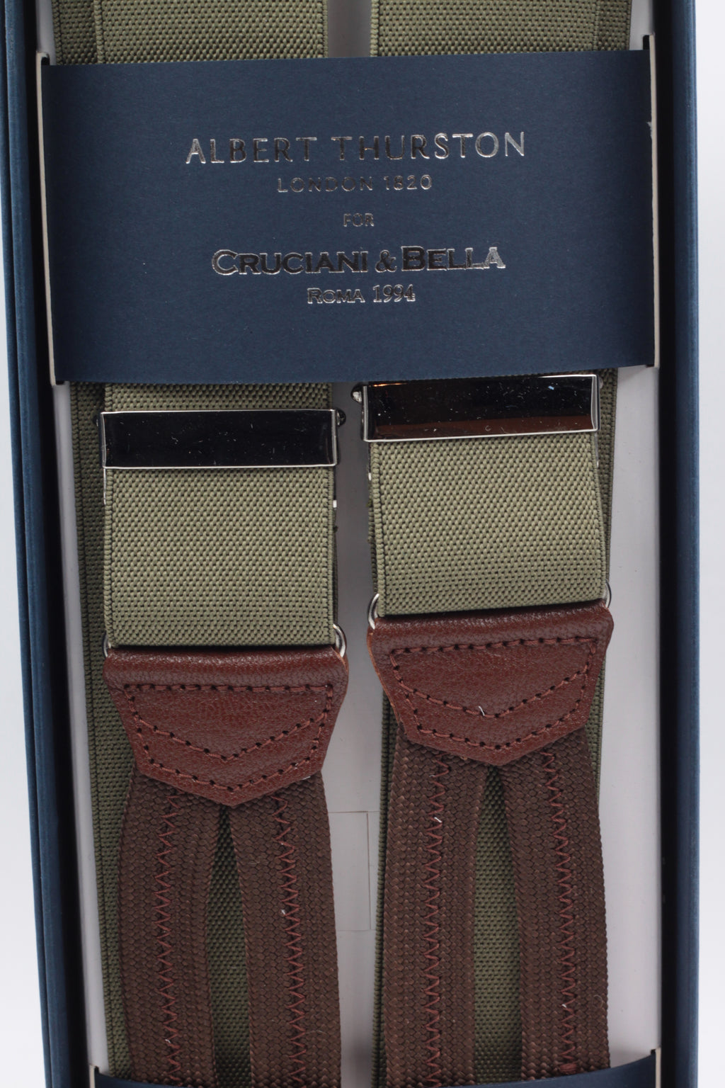 Albert Thurston for Cruciani & Bella Made in England Adjustable Sizing 35 mm elastic Khaki plain braces Braid ends Y-Shaped Nickel Fittings Size: L