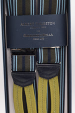 Albert Thurston for Cruciani & Bella Made in England Adjustable Sizing 35 mm elastic Military green, midnight blue and light blue multiple stripe braces Braid ends Y-Shaped Nickel Fittings Size: L